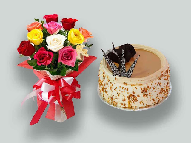 Sending The Combination Of Cake And Flower To Loved One