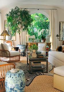 decoración sala con plantas