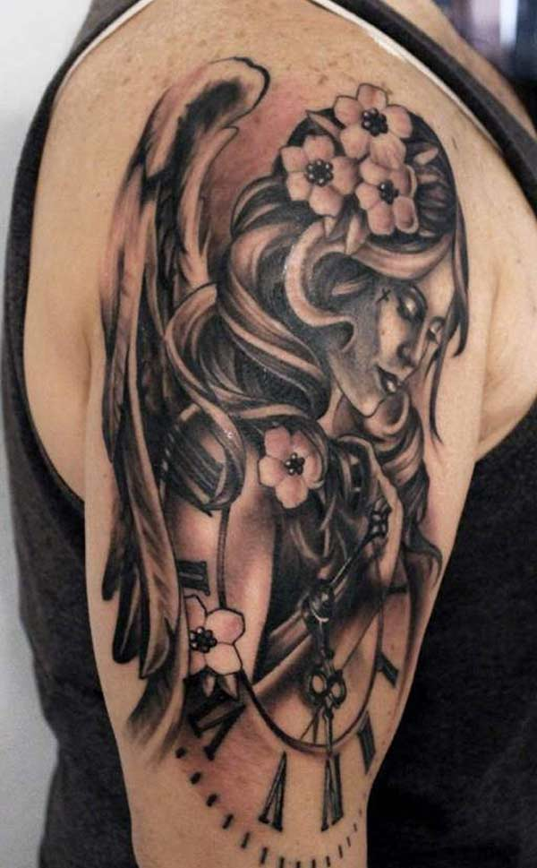 e638416617540 Beautiful angel tattoo - angel with flowers, and watch ink tattoo designs  for men's half sleeve