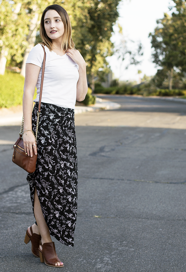 Forever 21 Floral Maxi Skirt Summer Outfit