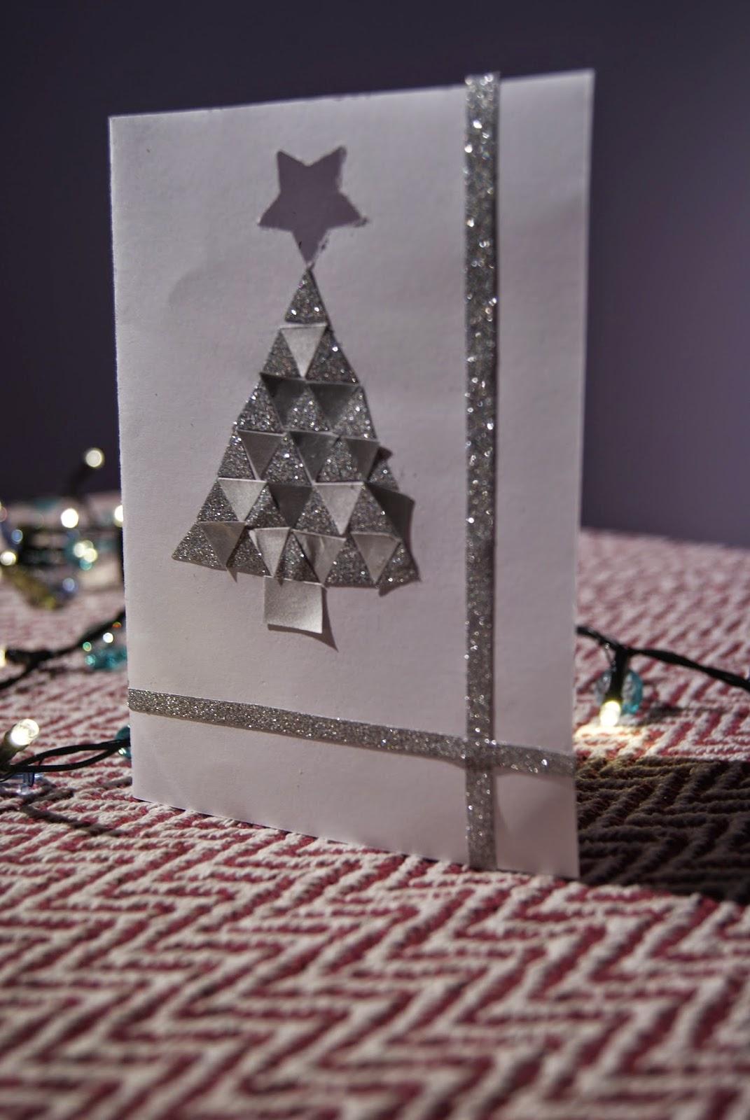 kartki świąteczne pomysły inspiracje diy srebrna mozaika choinka