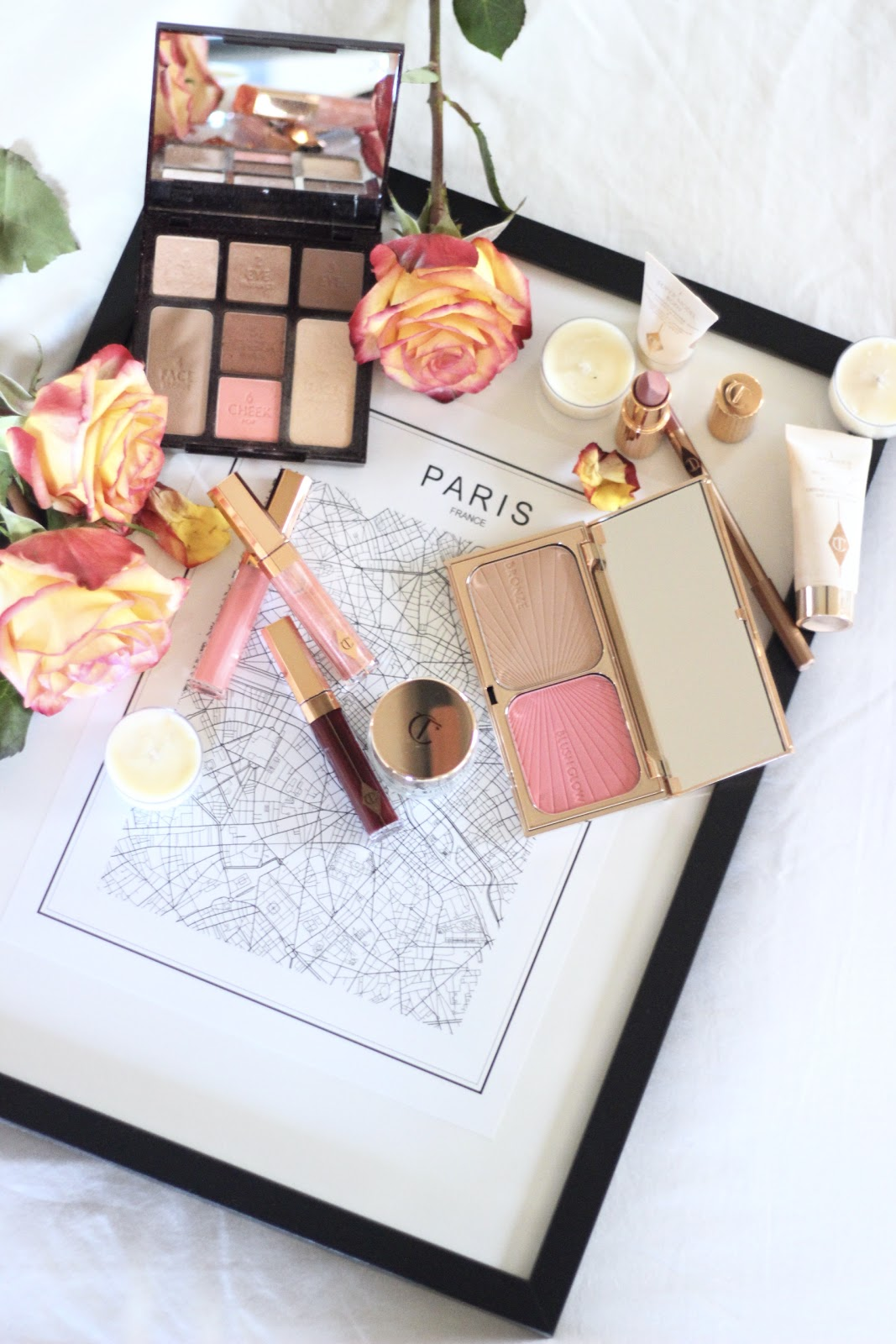 Charlotte Tilbury- Paris travel beauty/skincare essentials ; magic cream, lip lustres, look in a palette, pillow talk, filmstar, wonderglow, goddess clay mask