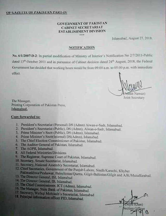 NOTIFICATION REGARDING OFFICE HOURS OF FEDERAL GOVERNMENT OFFICES