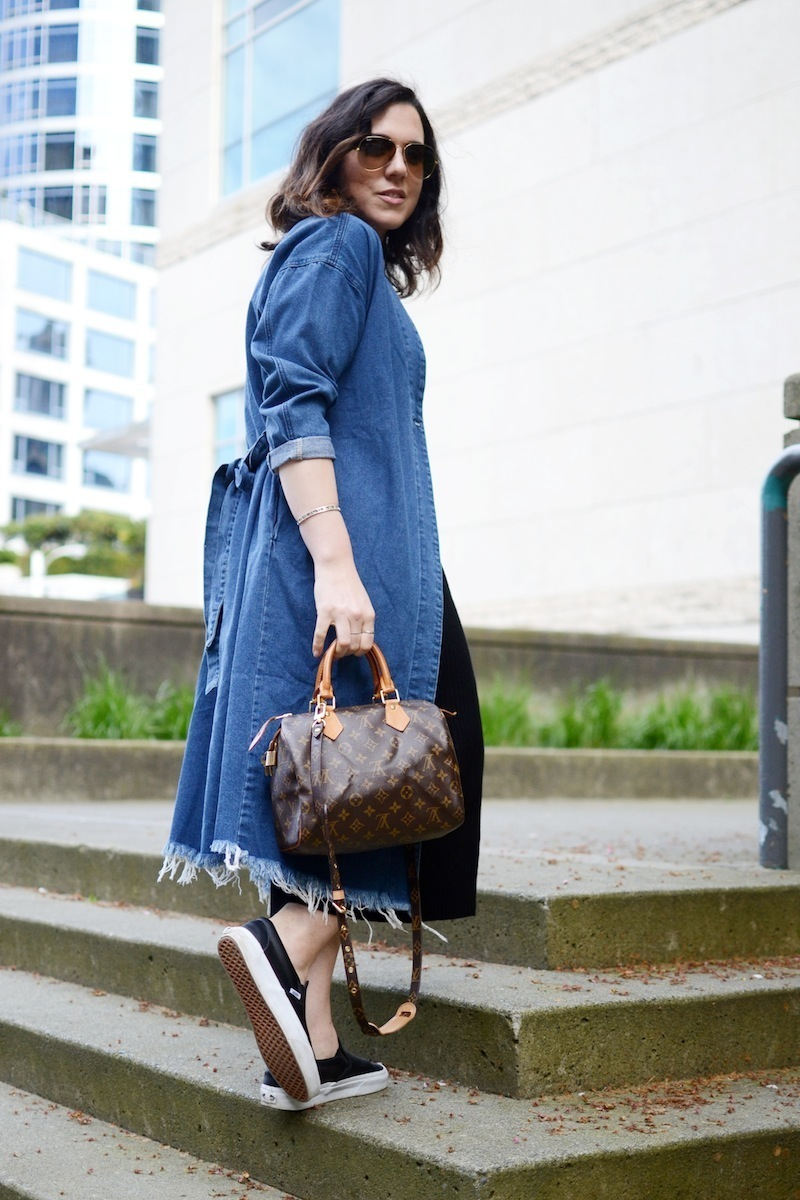BooHoo Longline denim duster jacket torn hem spring style Vancouver fashion blogger
