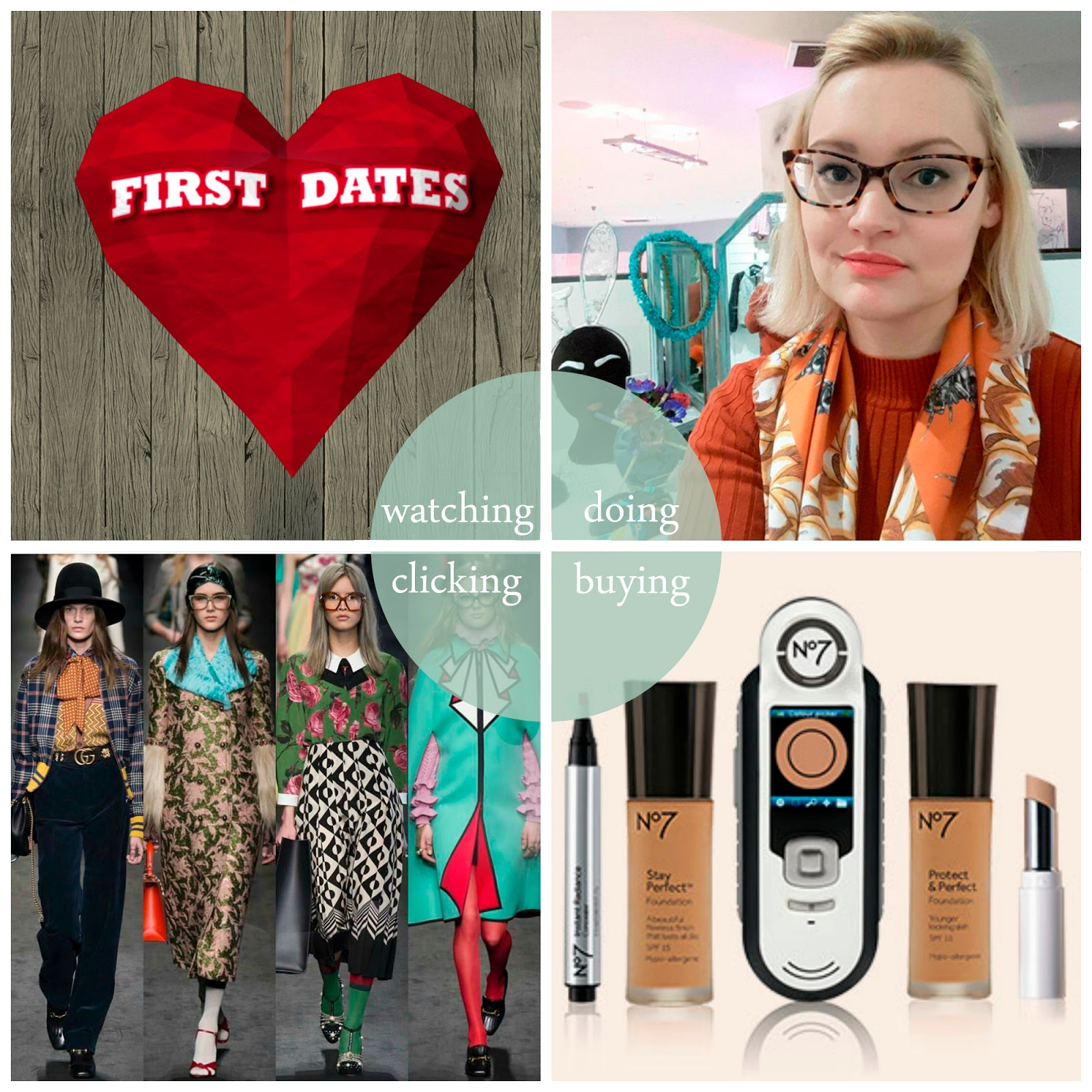 Kimberley's February Round Up, Blogger best bits, Scottish blogger, First Dates, Scottish Design Exchange, No 7 Match Made foundation, GucciGucci