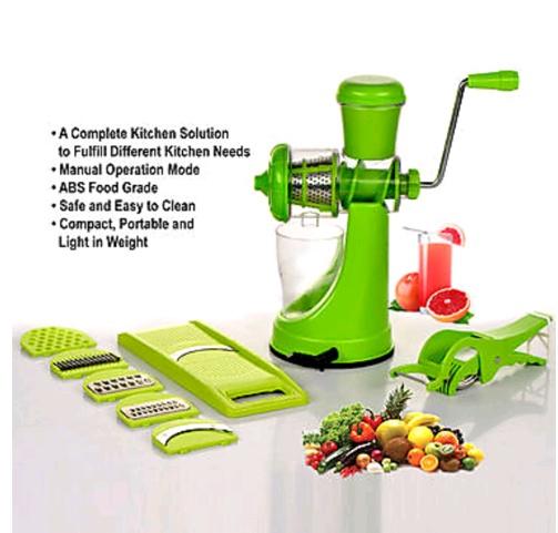 Internationals Plastic Elegant Combo Fruit Juicer With 6 In 1 Slicer And Multi Veg Cuttet-green