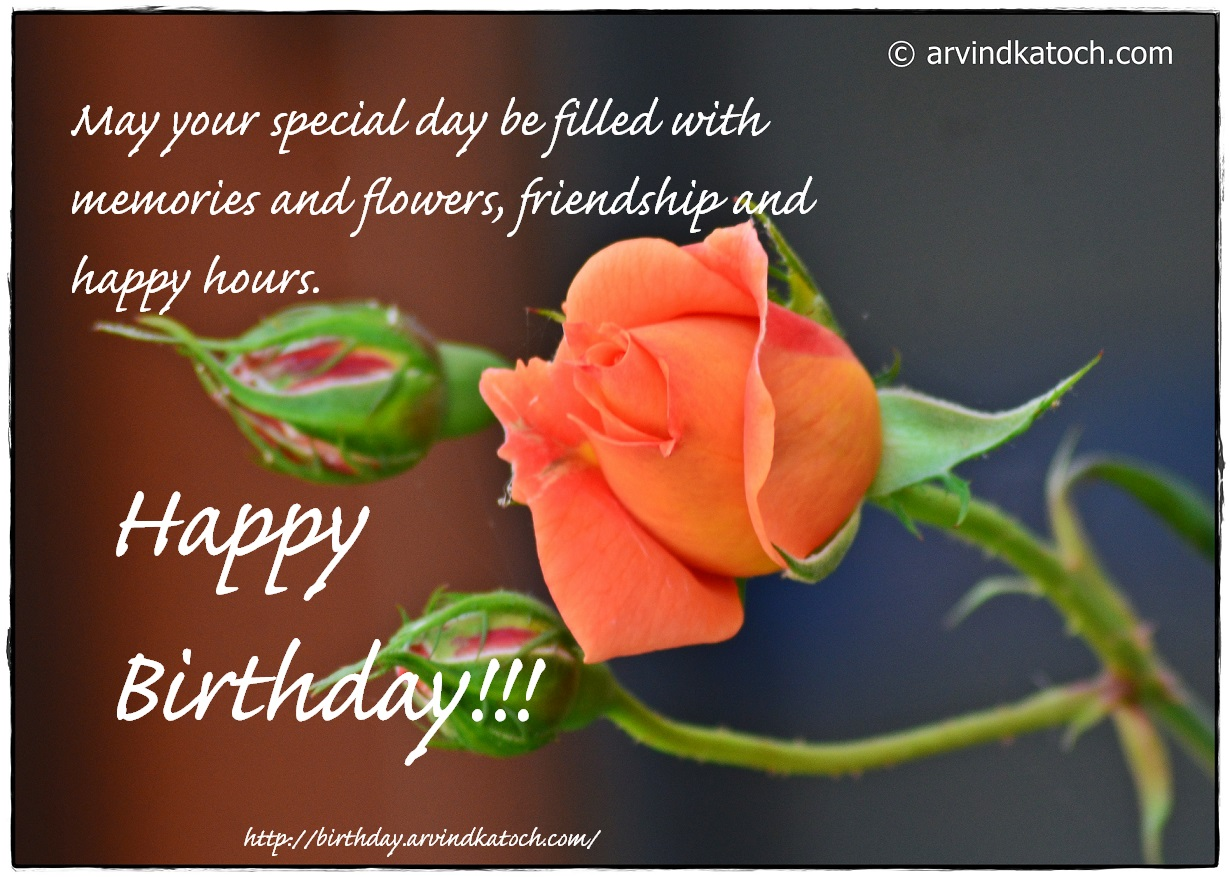 Happy Birthday Rose Card May Your Special Day Be Filled With Memories And Flowers
