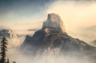 góra, mgła, las, pastelowe kolory, krajobraz, baśń, społeczeństwo