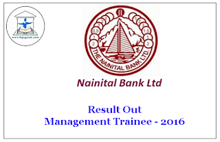 Nainital Bank  Management Trainee-2016 Result Out: