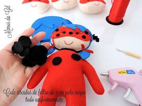 Miraculous Em Feltro Artesanato Molde Ladybug Felt Curso De Arte Decoracao