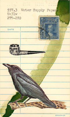 losing all your friends sucks library due date card crow raven pipe chile postage stamp dada fluxus mail art collage