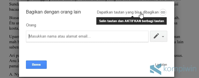 copy link hasil upload dari google drive