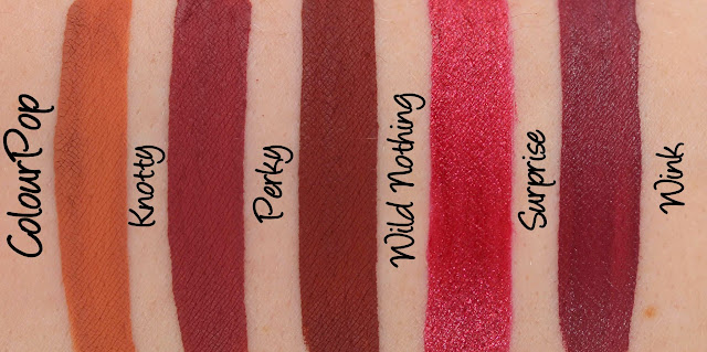 ColourPop Ultra Matte, Metallic & Satin Lips - Knotty, Perky, Wild Nothing, Surprise & Wink Swatches & Review
