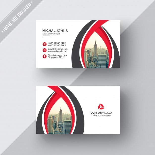 White business card with red and black details Free Psd