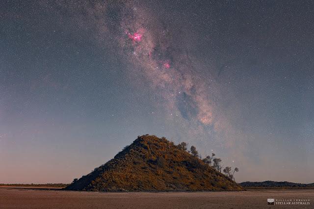 Tinh vân Carina trên bầu trời Hồ nước mặn Ballard. Hình ảnh: William Vrbasso.