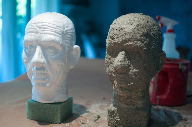 DIY concrete garden head sculpture for Halloween - Gwen Moss
