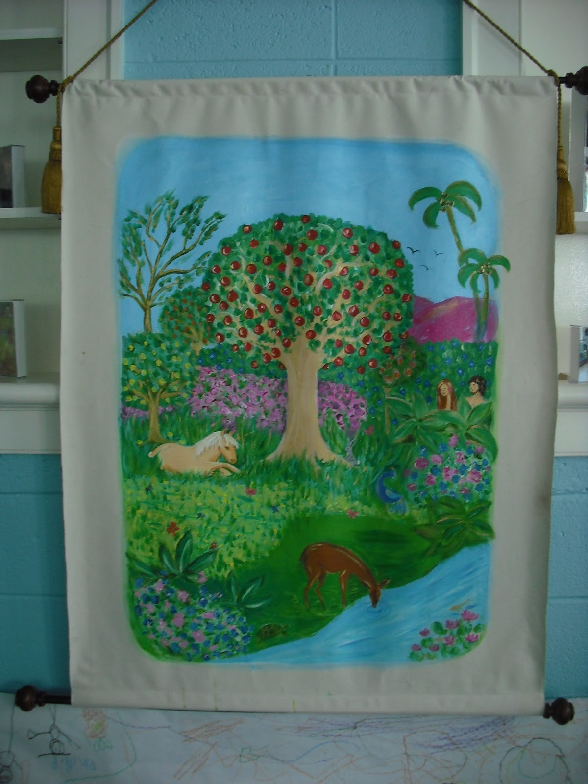 Garden of Eden & How to Paint on Unstretched Canvas - Katie