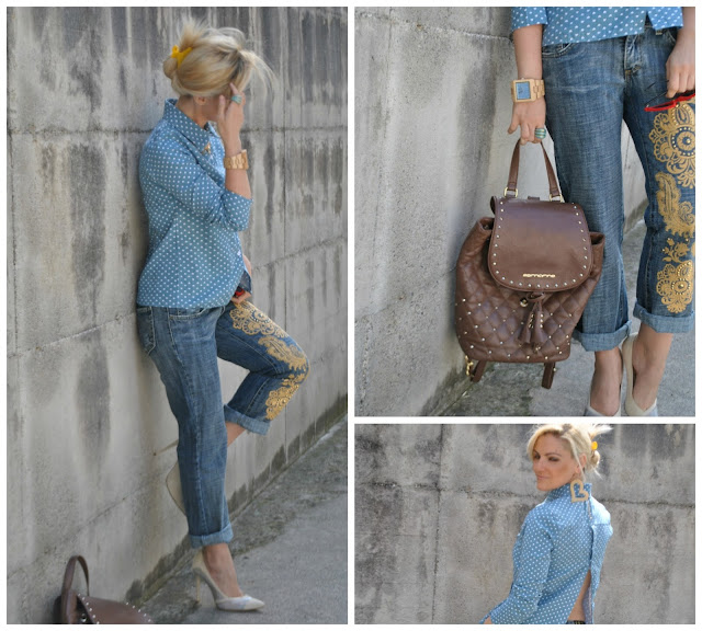 jeans boyfriend decorati how to wear boyfriend jeans denim shirt outfit camicia jeans outfit giugno 2016 outfit estivi june outfit mariafelicia magno fashion blogger colorblock by felym fashion blog italiani fashion blogger italiane blogger italiane di moda blonde girls blondie ragazze bionde
