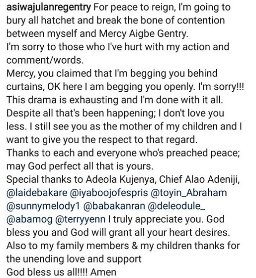Nollywood Actress Mercy Aigbe's Embattled Husband Make a U-Turn, Apologises Publicly