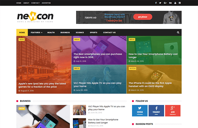 Newcon News/Magazine Responsive Blogger Template