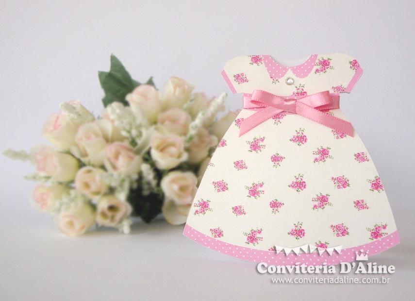 convite boneca de pano provençal vestidinho
