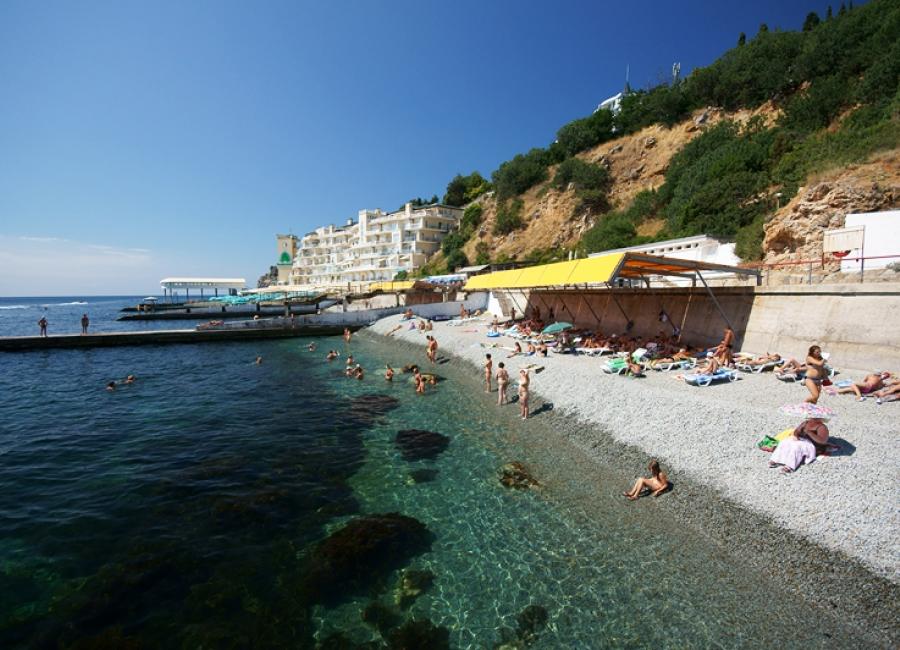 Пляж в санатории Горный в Крыму
