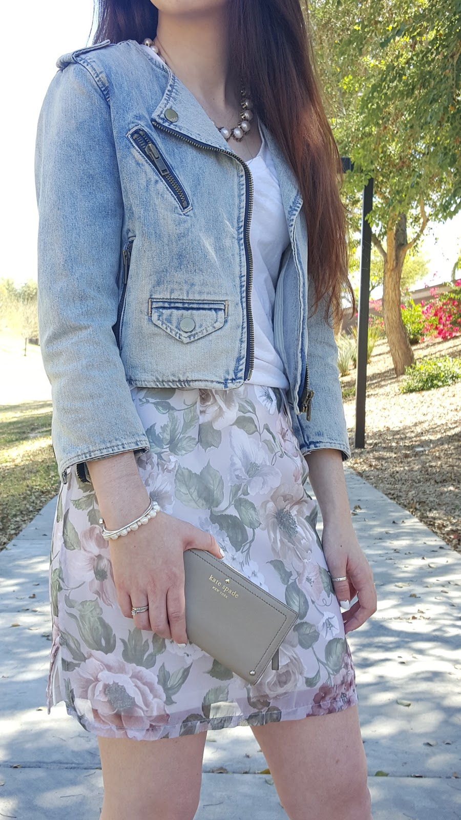 Spring outfit idea- pastel floral skirt and denim jacket