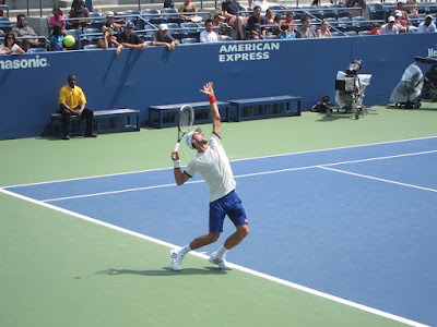 Djokovic at US Open serving