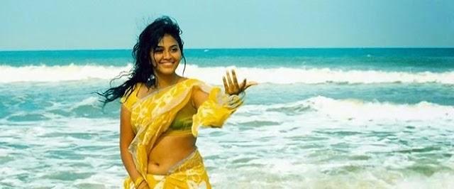 Anjali Hot Black Bra visible through wet Yellow Saree Below Navel Show