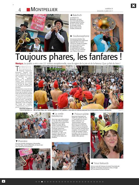 Article de presse de Midi Libre le dimanche 2 juillet 2017 sur le festival des fanfares à Montpellier