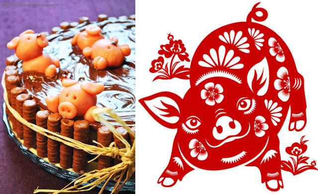 gateau mare de boue des cochons et new year 2019, papier découpé chinois