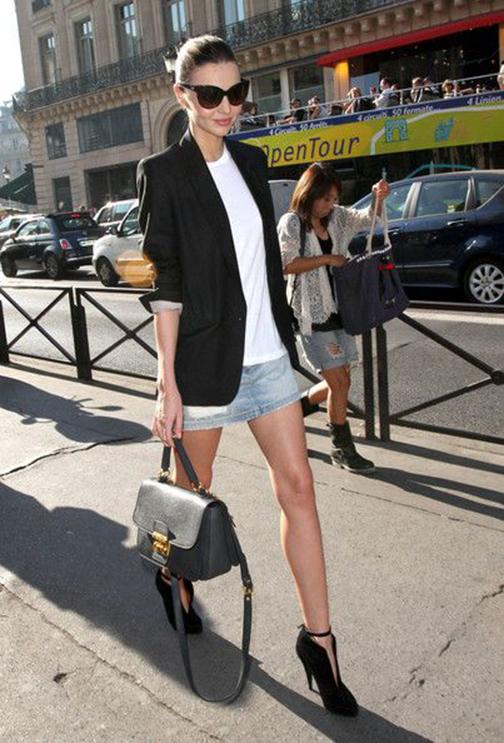 denim skirt and blazer