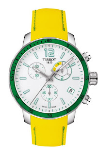 TISSOT Quickster Chrono Soccer White Dial Yellow Rubber Strap T095.449.17.037.01