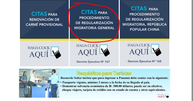 sistema de pre citas proceso de regularizacion migratoria panama