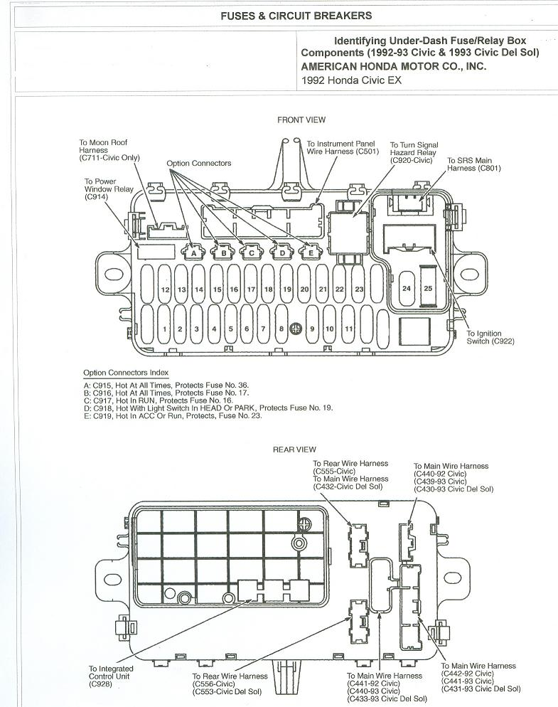 Free Auto Wiring Diagram: 1992 Honda Civic Fuse Box and Circuit Breakers Diagram
