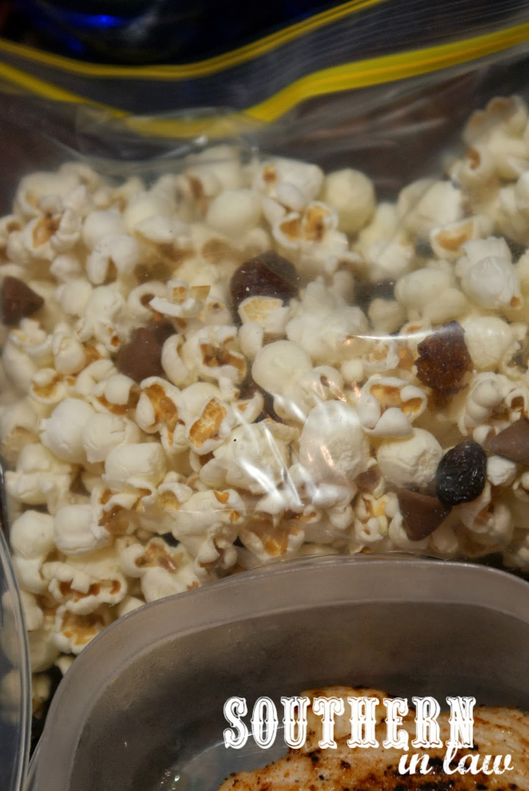 Picnic Date Night at the Sunset Cinema - Popcorn Trail Mix with Chocolate Chips and Raisins