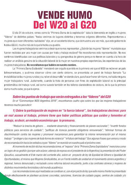 Mujeres Sindicalistas rechazan recomendaciones del Woman 20 y al G20