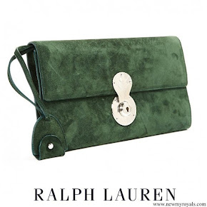 Meghan Markle carried Ralph Lauren 'Ricky' Olive Suede Chain Wallet Clutch