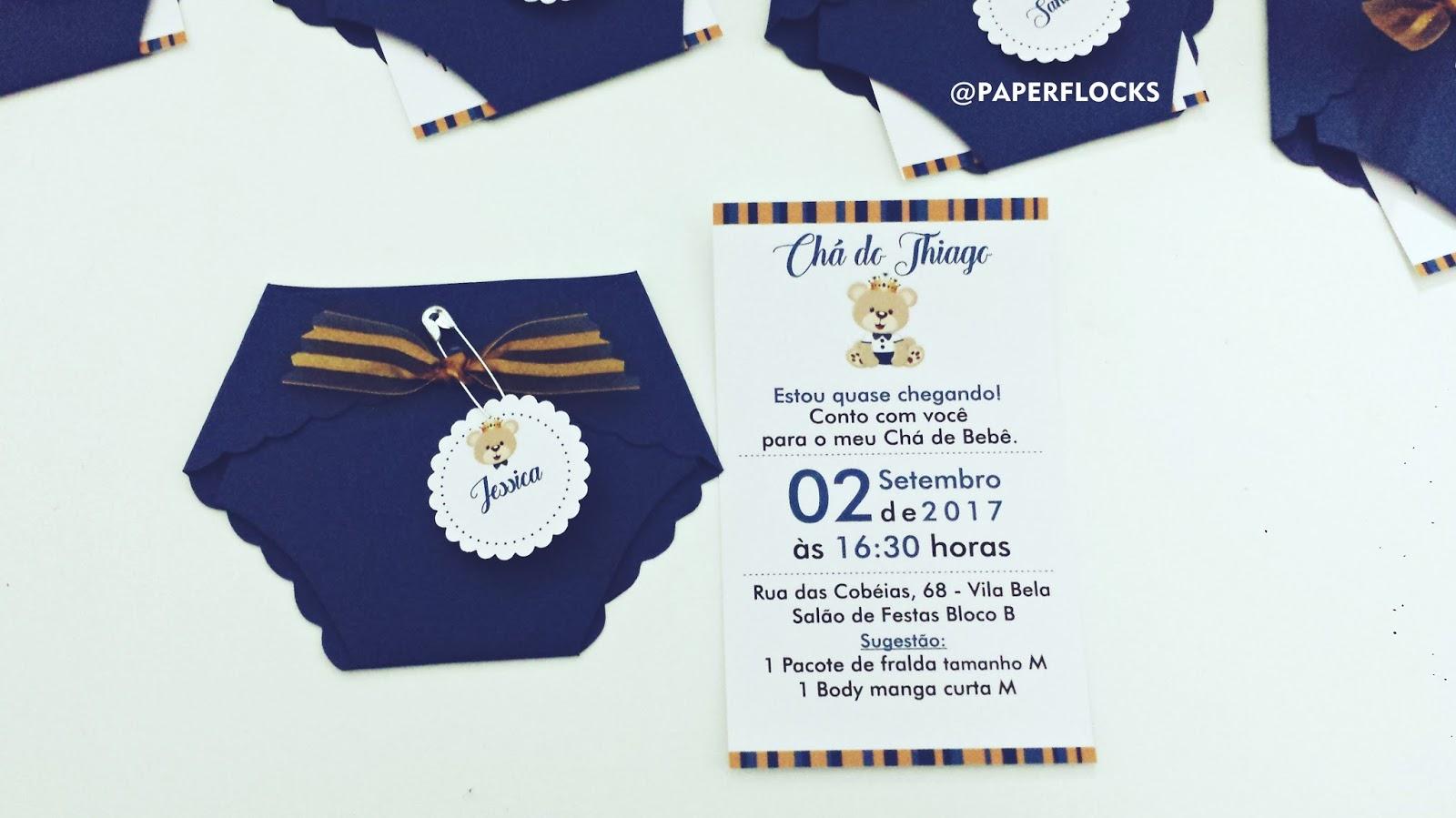 Convite Cha De Bebe Ursinho Príncipe Paper Flocks