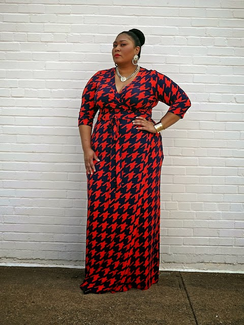 Plus size dress, Houndstooth, Moxie, Maxi dress