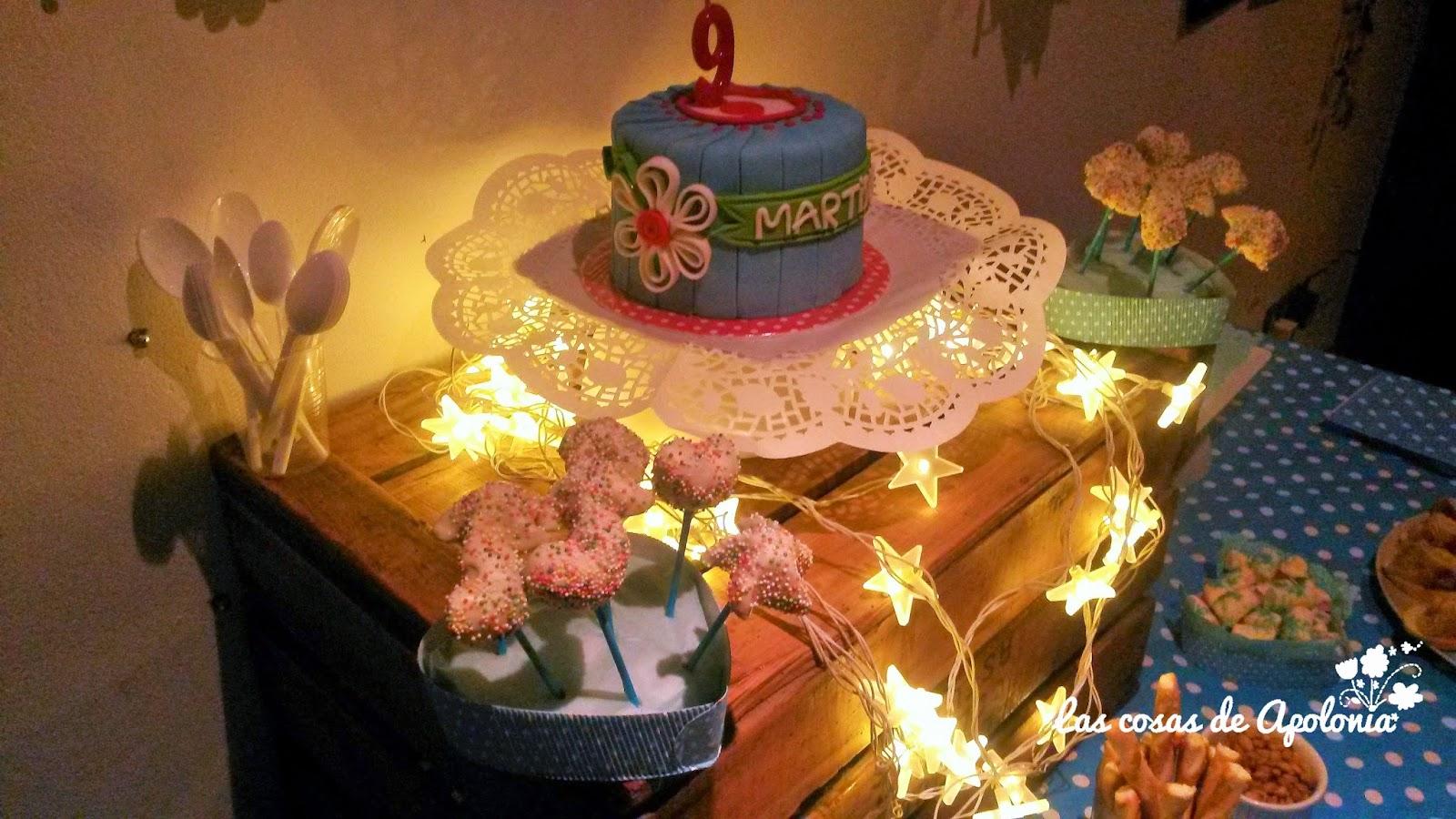 Tarta De Cumpleaños Azul Con Flores
