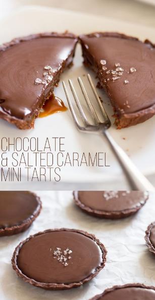 vegan chocolate and salted caramel tarts