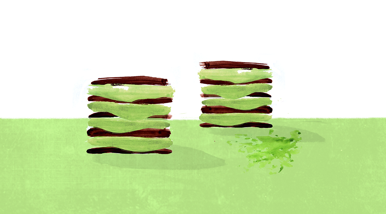 Mini Cacao Matcha Icebox Cakes, Birthday, Lauren Monaco Illustration