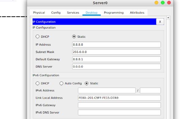Konfigurasi IP PC Server0
