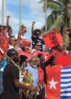 thousands protest in port vila against indonesia membership of msg