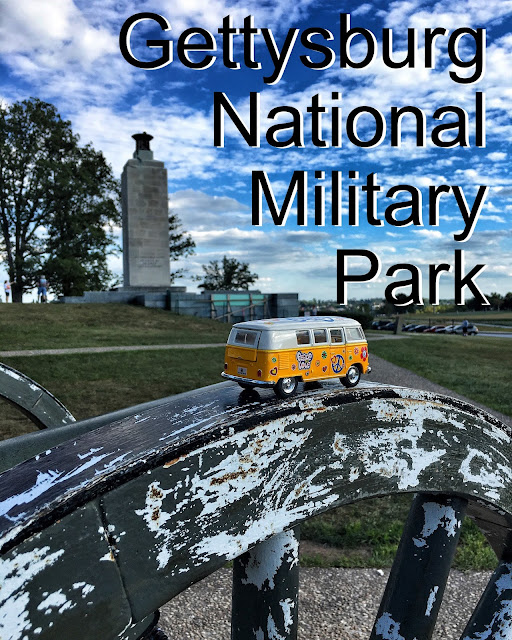 Title Card for Gettysburg National Military Park showing the yellow van on a cannon at Gettysburg