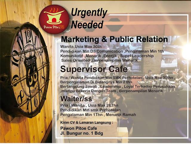 Lowongan Kerja Pawon Pitoe Bandung