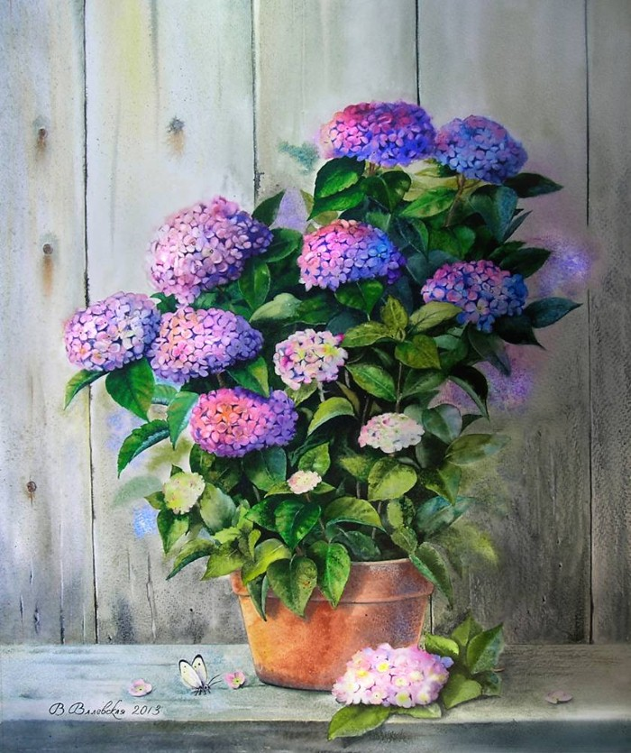 Акварельные рисунки цветов. Валентина Валевская 9