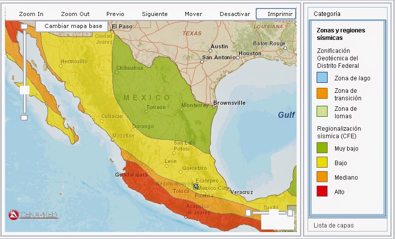 Resultado de imagen para sismos méxico zonas