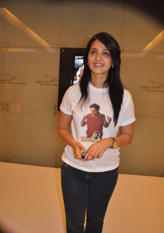 Actress Anushka Shetty Stills In White T Shirt Blue Jeans